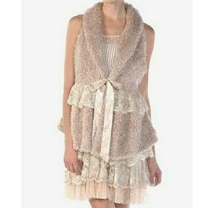 RYU Boho Chic Vest Small Cream Beige Lace